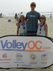 12s Gold Medalists Courtney Clexton and Kate Huber with CBVA Youth Chairman Ed Ratledge.